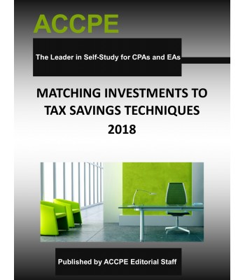 Matching Investments to Tax Saving Techniques 2018